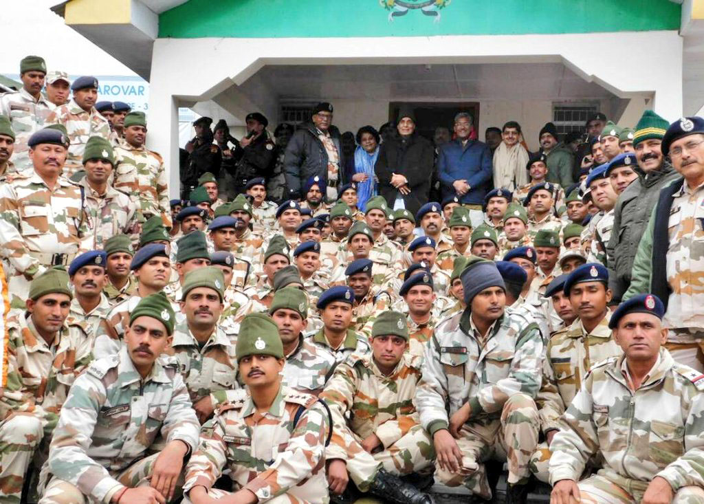 The Union Home Minister, Shri Rajnath Singh with the ITBP personnel, during his visit to ITBP Border Out Post Sherathang near Nathu La, in Sikkim on May 20, 2017.