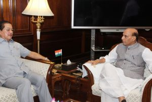 The Chief Minister of Mizoram, Shri Pu Lalthanhawla calling on the Union Home Minister, Shri Rajnath Singh, in New Delhi on May 30, 2017.