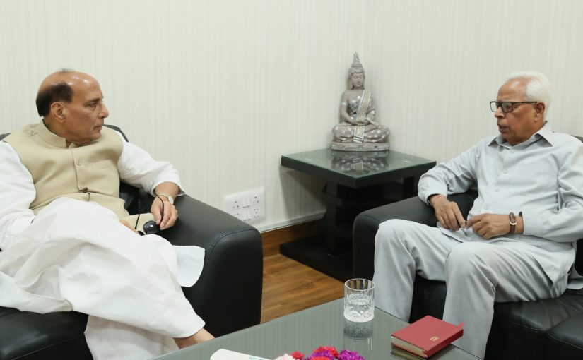 The Governor of Jammu & Kashmir, Shri N.N. Vohra calling on the Union Home Minister, Shri Rajnath Singh, in New Delhi