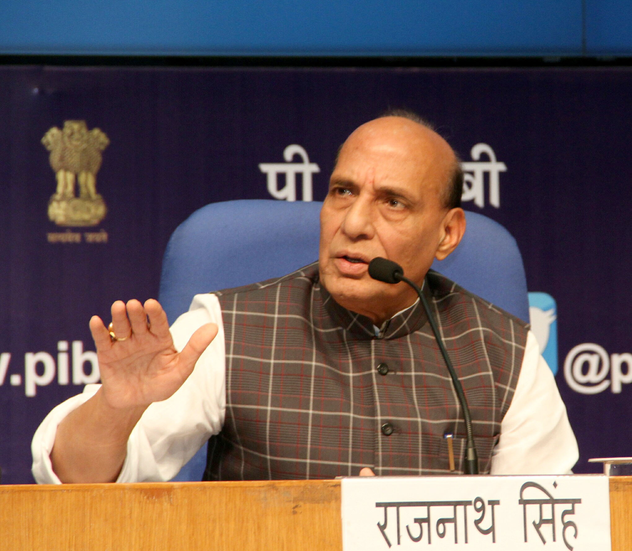 The Union Home Minister, Shri Rajnath Singh addressing at a press conference on the Achievements and Initiatives of the Ministry of Home Affairs during 3 years of NDA Government, in New Delhi on June 03, 2017.