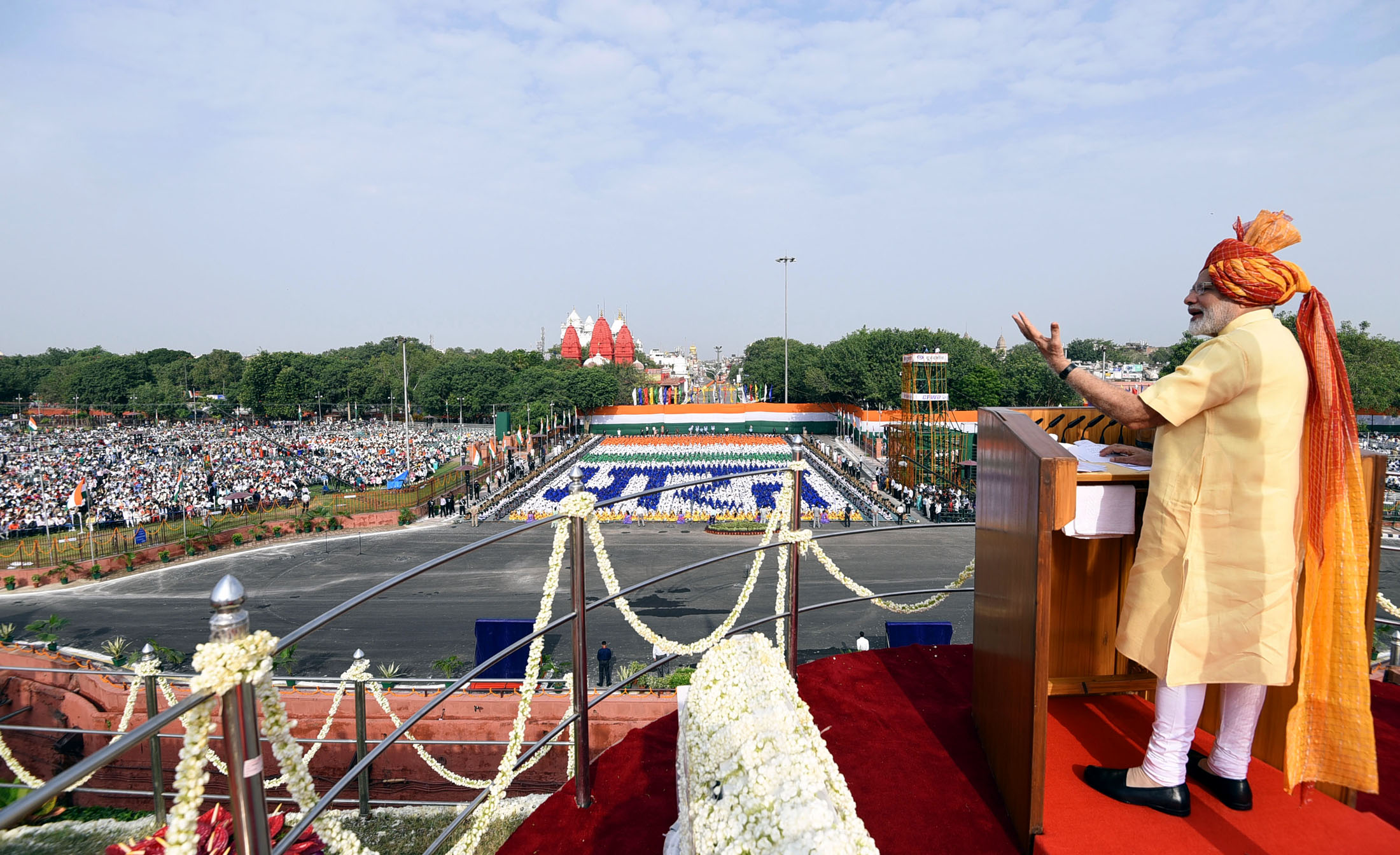 The Prime Minister, Shri Narendra Modi addressing the Nation on the occasion of 71st Independence Day from the ramparts of Red Fort, in Delhi on August 15, 2017.