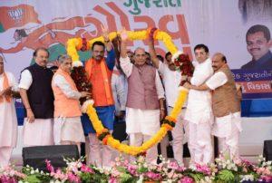 Rajnath Singh in Bardoli, Gujarat
