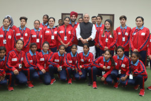 Women Football players from J&K in a group photograph with the Union Home Minister, Shri Rajnath Singh, in New Delhi on December 05, 2017.