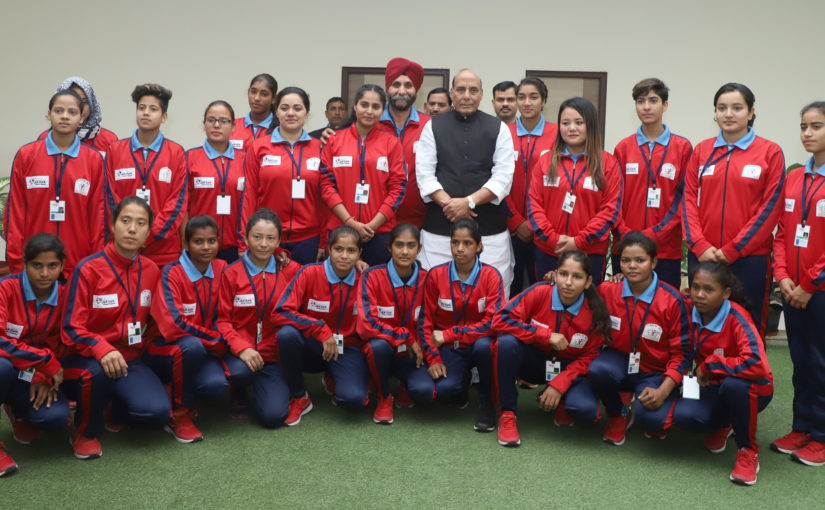 Women Football players from J&K call on Union Home Minister Shri Rajnath Singh