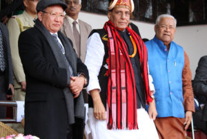 The Union Home Minister, Shri Rajnath Singh attending Hornbill festival, at Kisama Village, Kohima, in Nagaland on December 08,2017