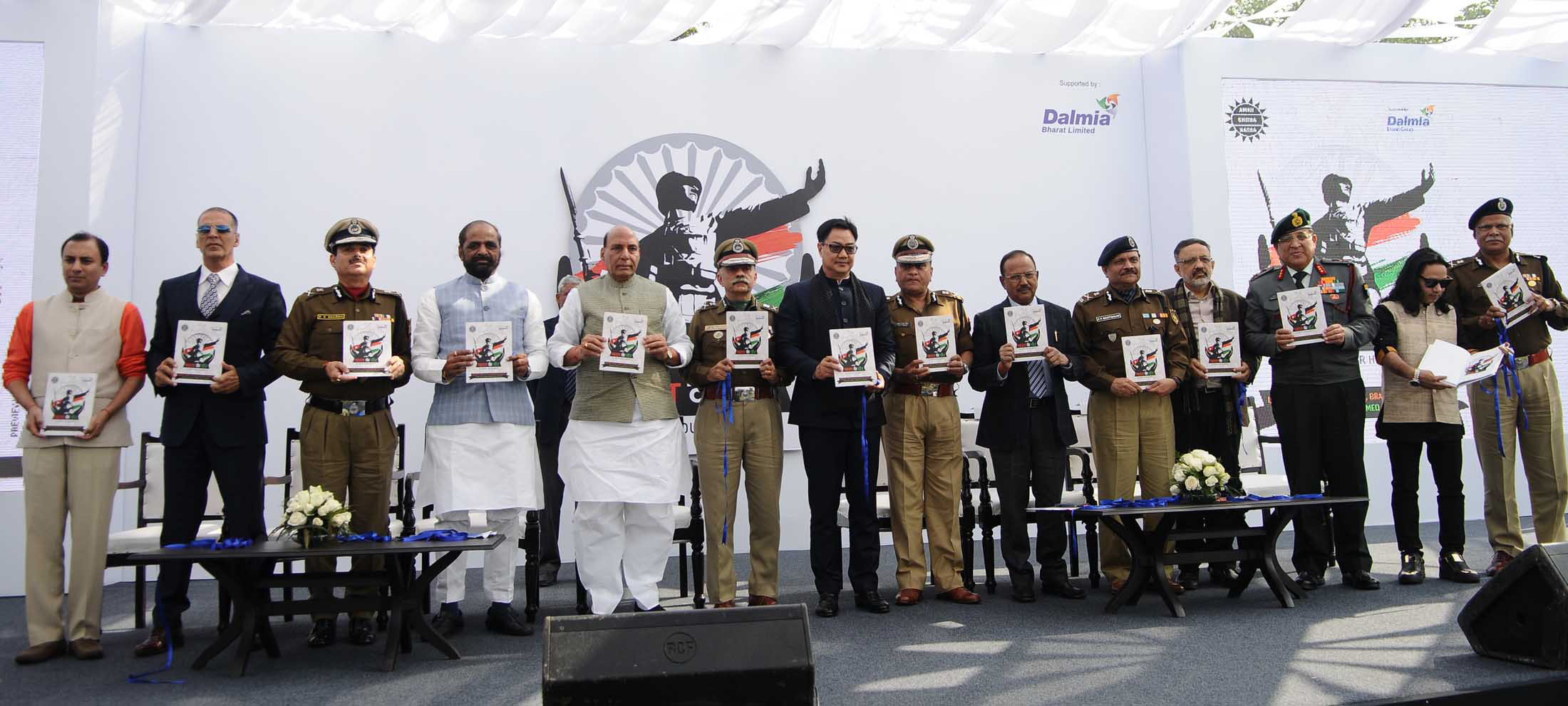 """The Union Home Minister, Shri Rajnath Singh releasing a graphic novel series depicting the martyrs' sacrifices, during a function to raise funds for the """"Bharat ke Veer"""" fund, in New Delhi on January 20, 2018. The Ministers of State for Home Affairs, Shri Hansraj Gangaram Ahir and Shri Kiren Rijiju, the National Security Advisor, Shri Ajit Doval, the Home Secretary, Shri Rajiv Gauba and other dignitaries are also seen."""