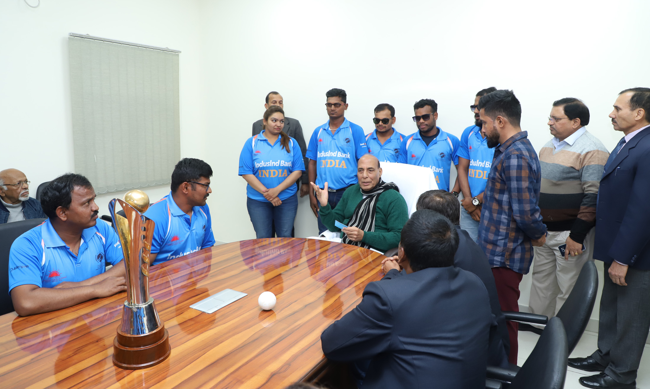 The India team which won the recent 2018 Blind Cricket World Cup in Sharjah, UAE, calling on the Union Home Minister, Shri Rajnath Singh, in New Delhi on January 23, 2018.