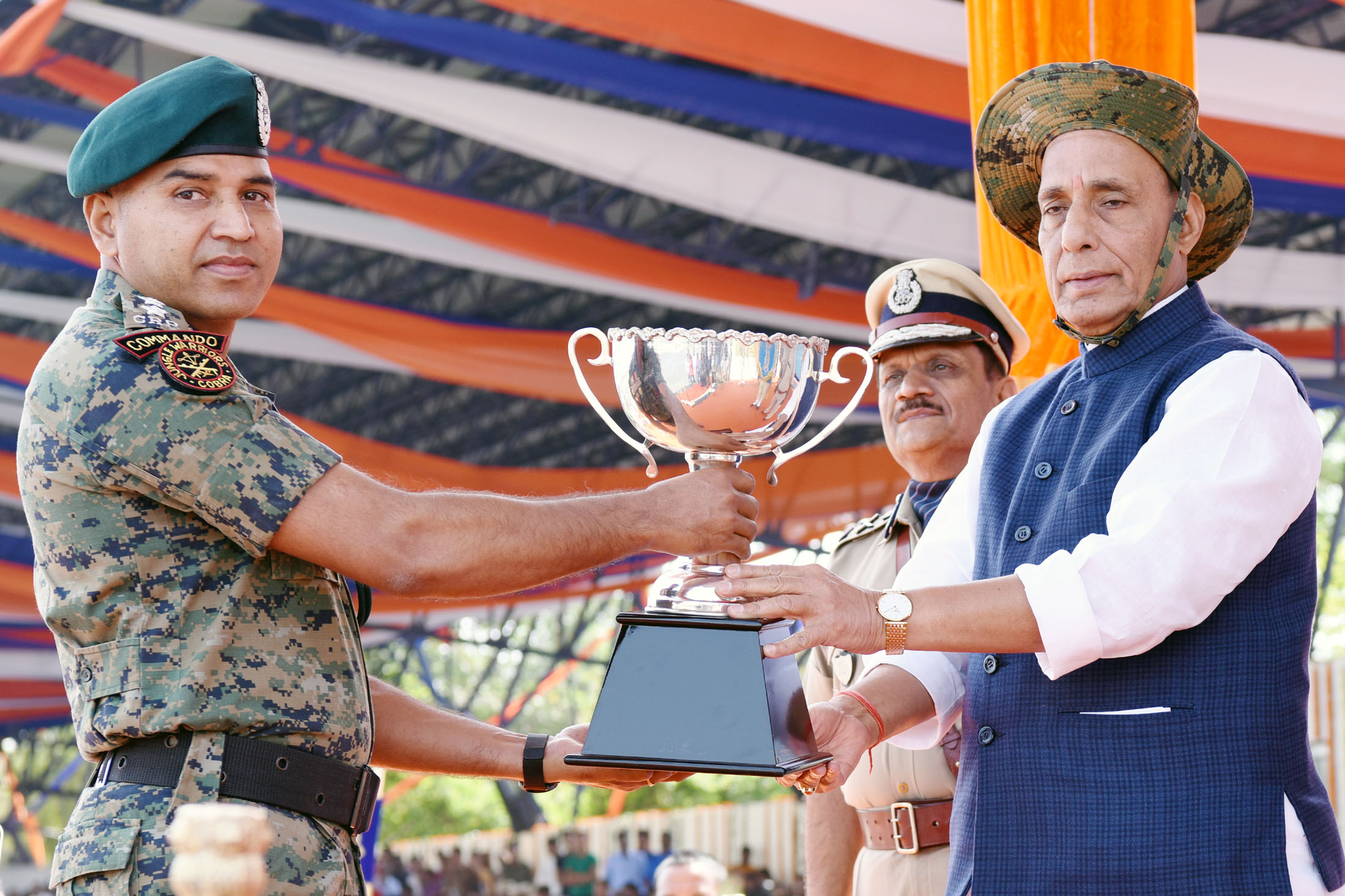 The Union Home Minister, Shri Rajnath Singh presenting trophies on the occasion of CRPF's 79th Raising Day Parade, in Gurugram, Haryana in March 24, 2018.