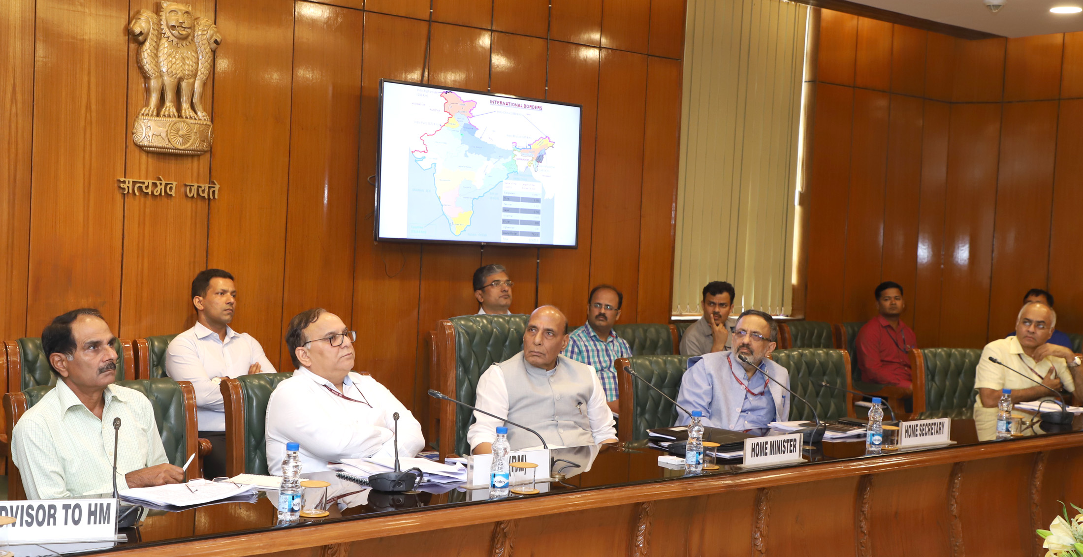 The Union Home Minister, Shri Rajnath Singh at a review meeting of the Border Management Division, in New Delhi on May 24, 2018.