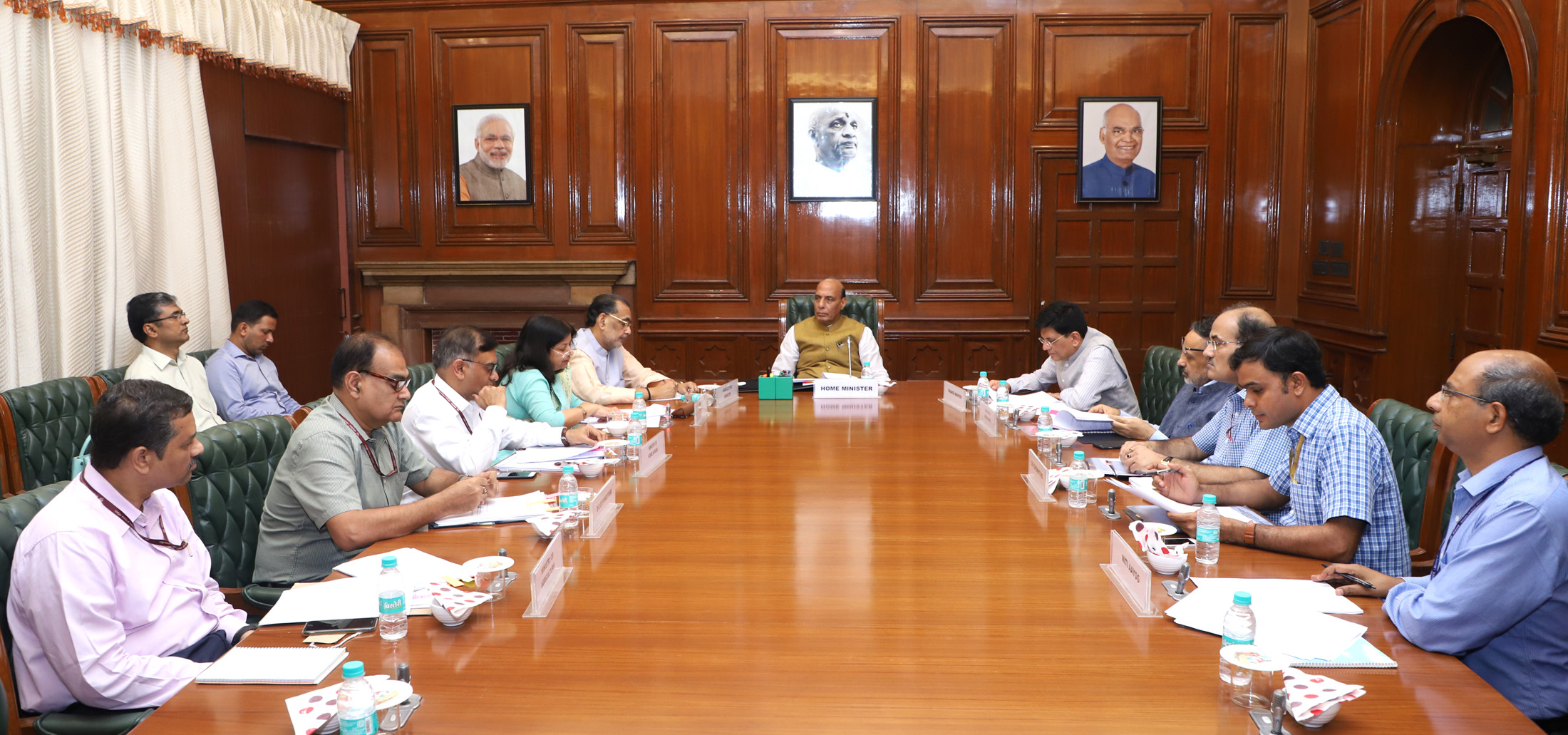The Union Home Minister, Shri Rajnath Singh chairing a meeting of the High Level Committee (HLC) for Central Assistance to the states of Andhra Pradesh, Arunachal Pradesh and Nagaland, in New Delhi on June 29, 2018. The Union Minister for Agriculture and Farmers Welfare, Shri Radha Mohan Singh, the Union Minister for Railways, Coal, Finance and Corporate Affairs, Shri Piyush Goyal, the Union Home Secretary, Shri Rajiv Gauba and senior officers of the Ministries of Home Affairs, Finance and Agriculture and NITI Aayog are also seen.