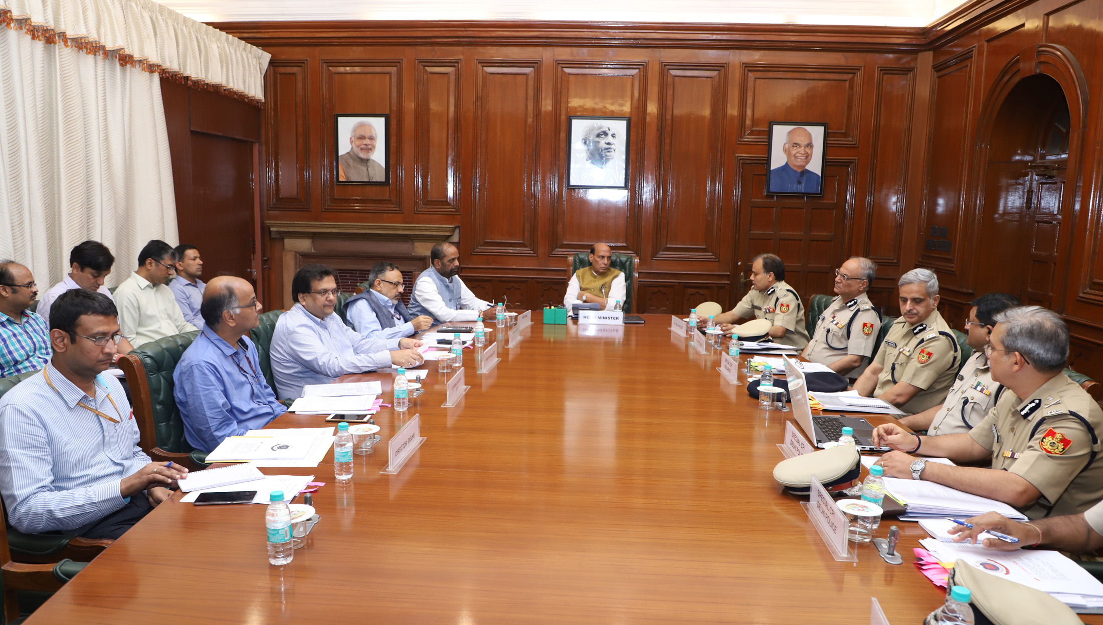 The Union Home Minister, Shri Rajnath Singh chairing a review meeting of the Delhi Police, in New Delhi on June 29, 2018. The Minister of State for Home Affairs, Shri Hansraj Gangaram Ahir, the Union Home Secretary, Shri Rajiv Gauba and the Delhi Police Commissioner, Shri Amulya Patnaik and senior officers are also seen.