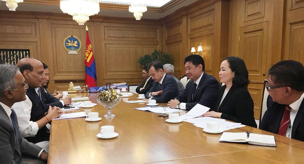 The Union Home Minister, Shri Rajnath Singh holding delegation level talks with the Prime Minister of Mongolia, Mr. Ukhnaagin Khurelsukh, in Ulaanbaatar on June 22, 2018.