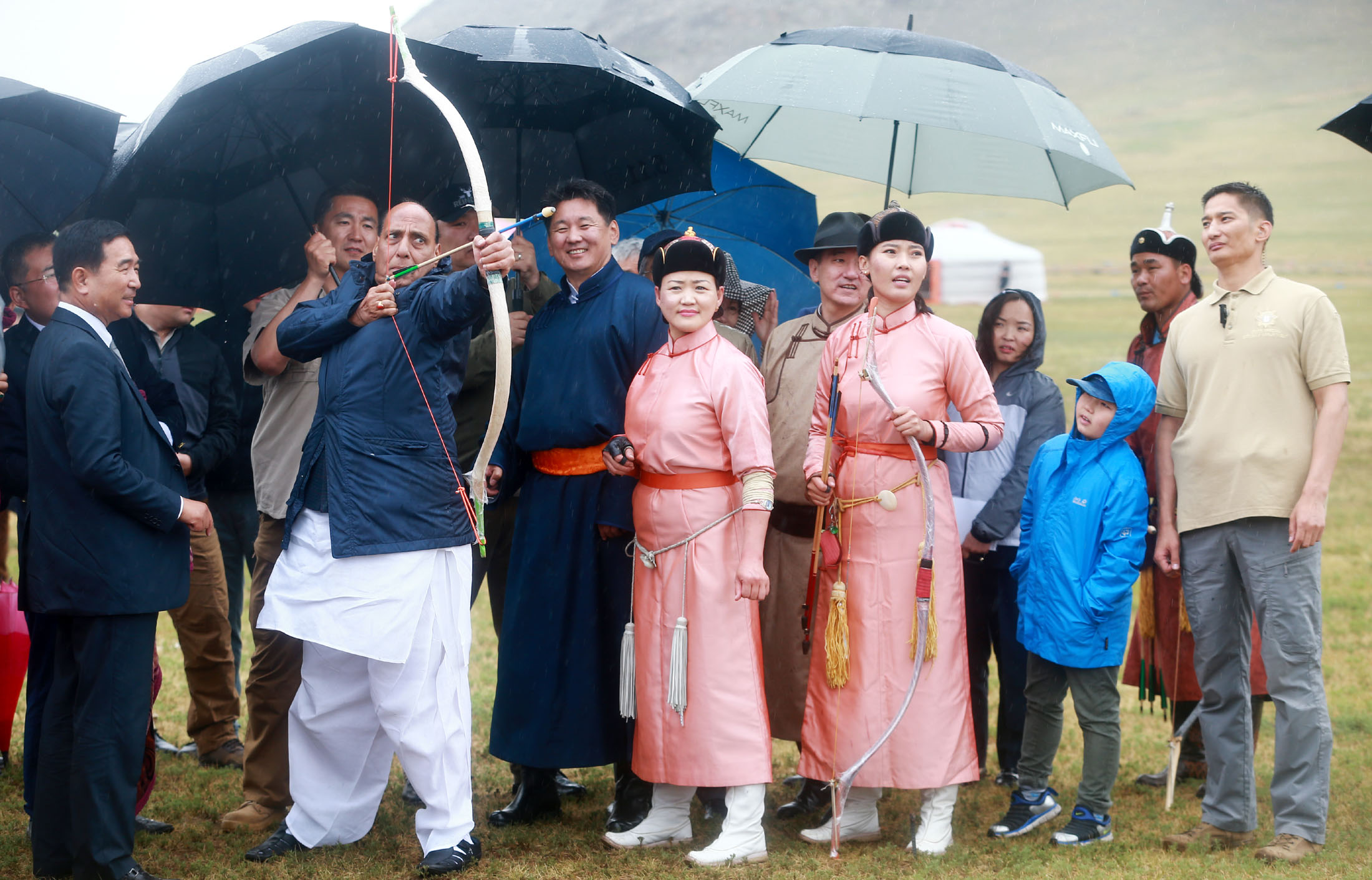 The Union Home Minister, Shri Rajnath Singh witnessing the Mini-Naadam festival of traditional sports and culture organised in the rural areas of Ulaanbaatar, in Mongolia on June 23, 2018.   The Prime Minister of Mongolia, Mr. Ukhnaagin Khurelsukh is also seen.