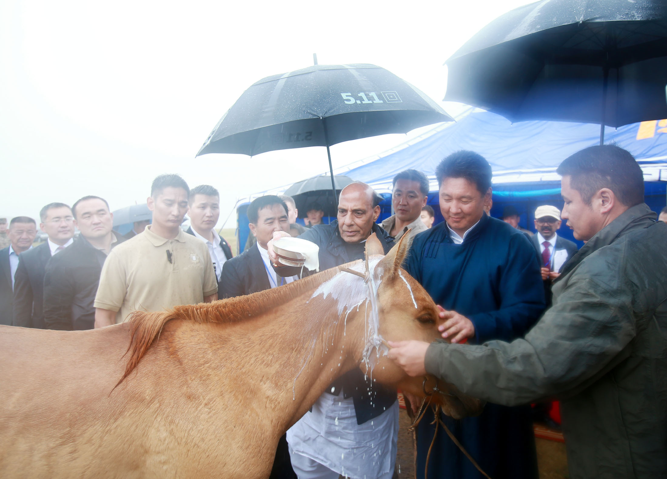 The Prime Minister of Mongolia, Mr. Ukhnaagin Khurelsukh presenting a horse to Shri Rajnath Singh, while honouring him on his maiden visit to the country, at Ulaanbaatar on June 23, 2018