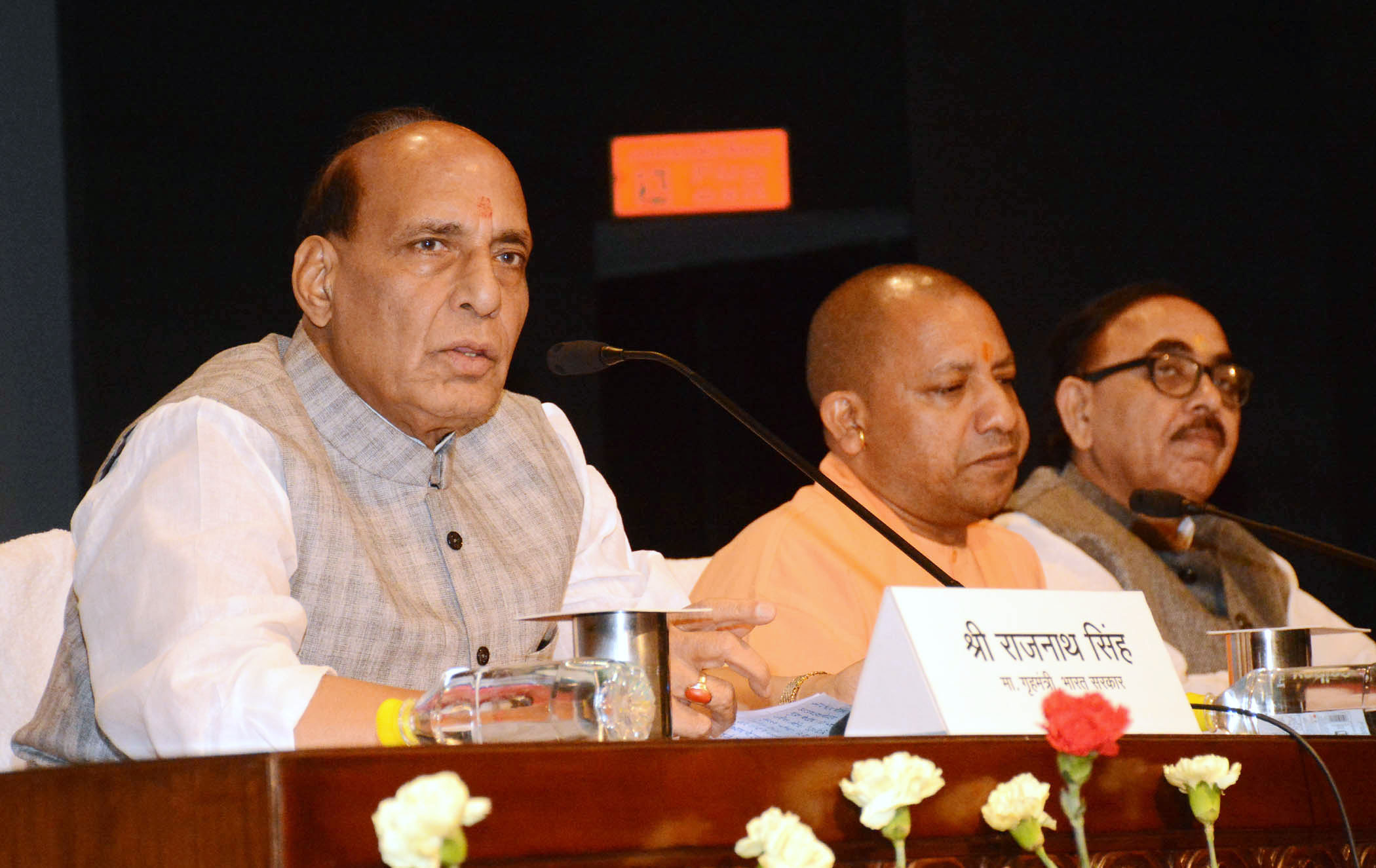 The Union Home Minister, Shri Rajnath Singh addressing a press conference, in Lucknow, Uttar Pradesh on May 29, 2018.  The Chief Minister of Uttar Pradesh, Yogi Adityanath and is also seen.