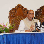The Union Home Minister, Shri Rajnath Singh addressing a press conference, in Srinagar, Jammu & Kashmir on June 07, 2018.  	The Chief Minister of Jammu and Kashmir, Ms. Mehbooba Mufti and the Minister of State for Development of North Eastern Region (I/C), Prime Minister's Office, Personnel, Public Grievances & Pensions, Atomic Energy and Space, Dr. Jitendra Singh are also seen.