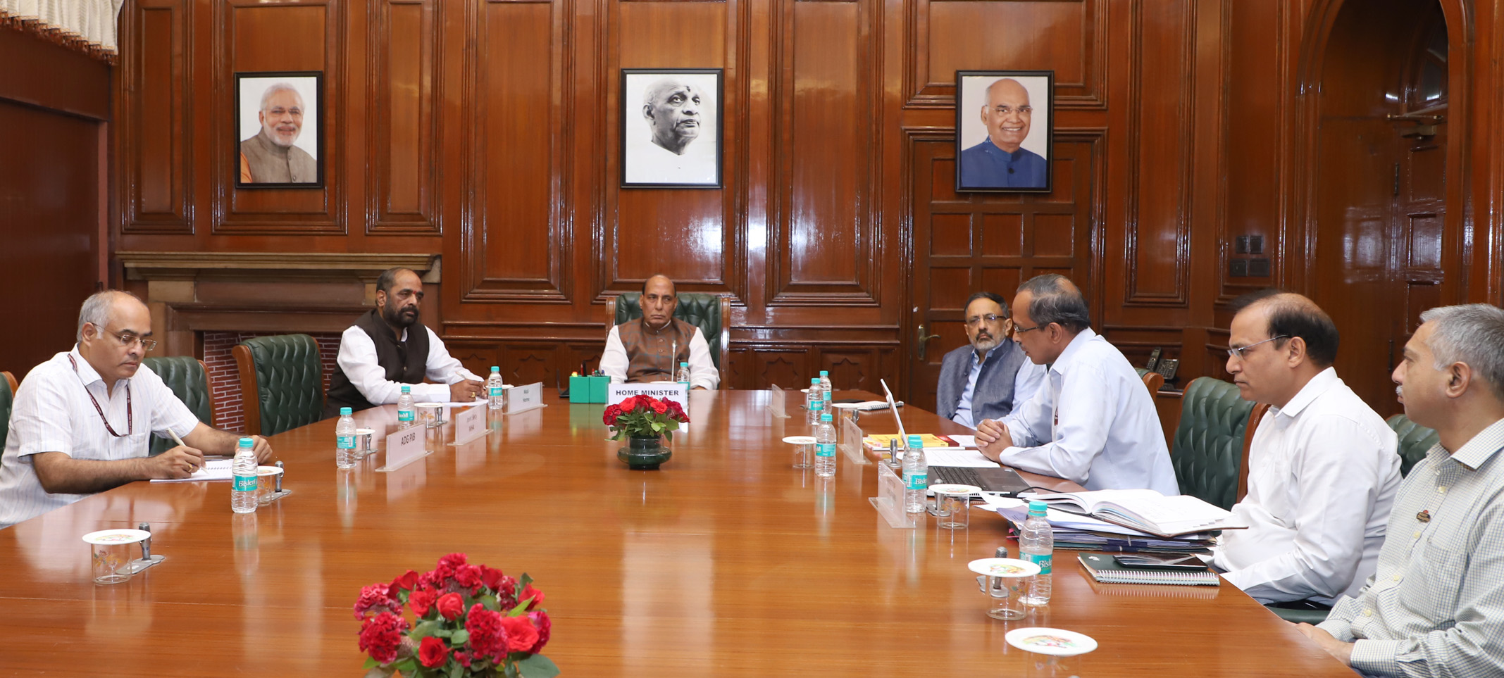 The Union Home Minister, Shri Rajnath Singh chairing a high level meeting to review the Cyber and Information Security (C&IS) Division of MHA, in New Delhi on June 18, 2018. 	The Minister of State for Home Affairs, Shri Hansraj Gangaram Ahir, the Union Home Secretary, Shri Rajiv Gauba and Senior Officers of MHA are also seen.