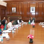 The Union Home Minister Shri Rajnath Singh reviewing the progress of Department of J&K Affairs at a high-level meeting, in New Delhi on May 28, 2018.