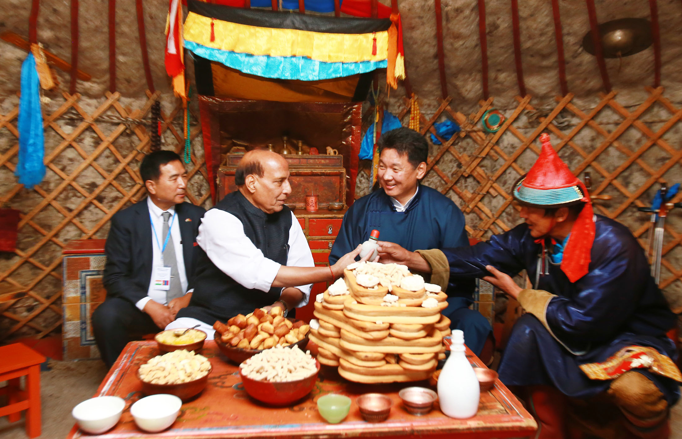 The Union Home Minister, Shri Rajnath Singh visiting the 'Ger' of a Nomadic Tribe family, in Mongolia on June 23, 2018. The Prime Minister of Mongolia, Mr. Ukhnaagin Khurelsukh is also seen.