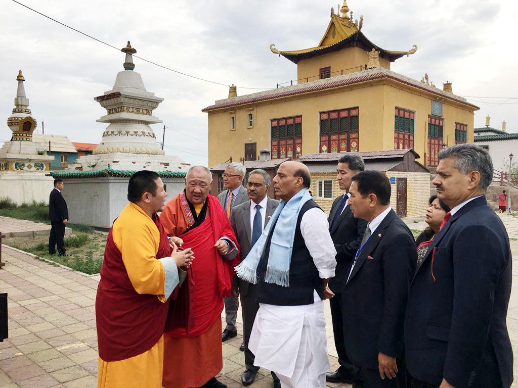 The Union Home Minister, Shri Rajnath Singh visiting the Gandantsegchinlen Monastery, in Ulaanbaatar, Mongolia on June 24, 2018.