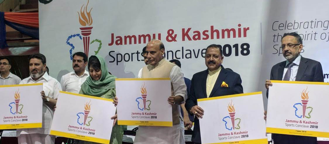 The Union Home Minister, Shri Rajnath Singh releasing the Jammu and Kashmir Sports Conclave-2018 logo, in Srinagar, Jammu & Kashmir on June 07, 2018. 	The Chief Minister of Jammu and Kashmir, Ms. Mehbooba Mufti, the Minister of State for Development of North Eastern Region (I/C), Prime Minister's Office, Personnel, Public Grievances & Pensions, Atomic Energy and Space, Dr. Jitendra Singh and the Home Secretary, Shri Rajiv Gauba are also seen.