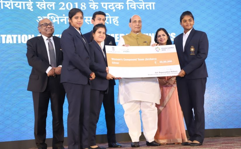 HM Rajnath Singh felicitates India's Asiad medal winners