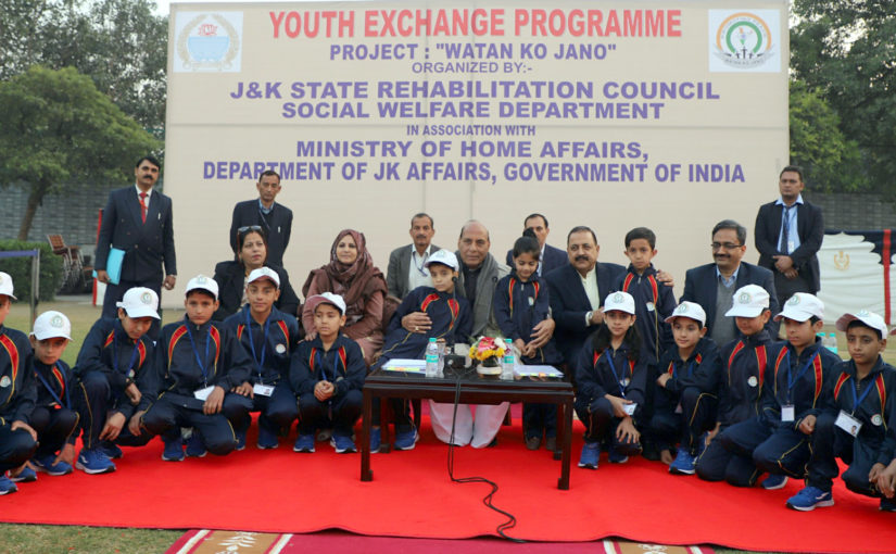 Home Minister Shri Rajnath Singh meets J&K school children under Youth Exchange Programme 'Watan ko Jano'