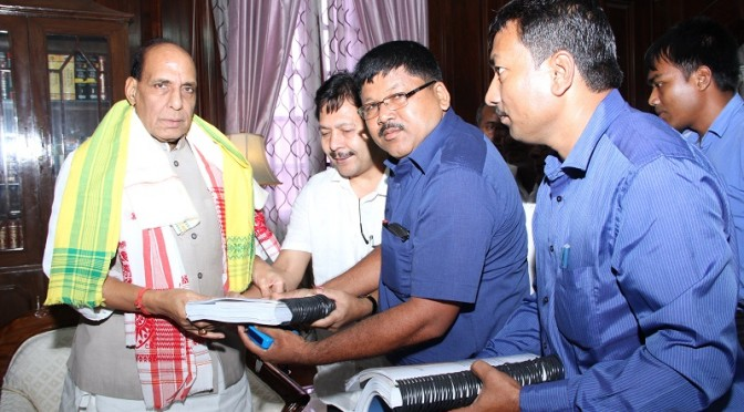 Shri Rajnath Singh meeting with MP from Assam Shri Nabi Kumar Sarania (08/08/2014)