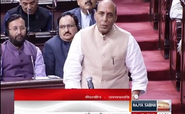 Shri Rajnath Singh reply in Rajya Sabha on Masarat Alam's release on 09 March 2015 .