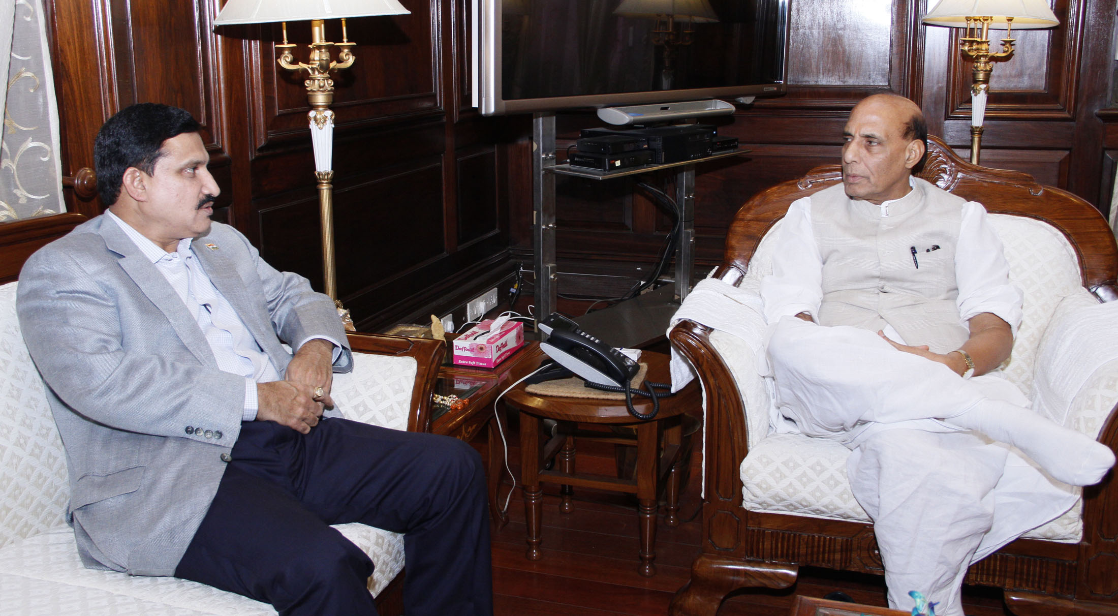 The Minister of State for Science and Technology and Earth Science, Shri Y.S. Chowdary calling on the Union Home Minister, Shri Rajnath Singh, in New Delhi on June 18, 2015.