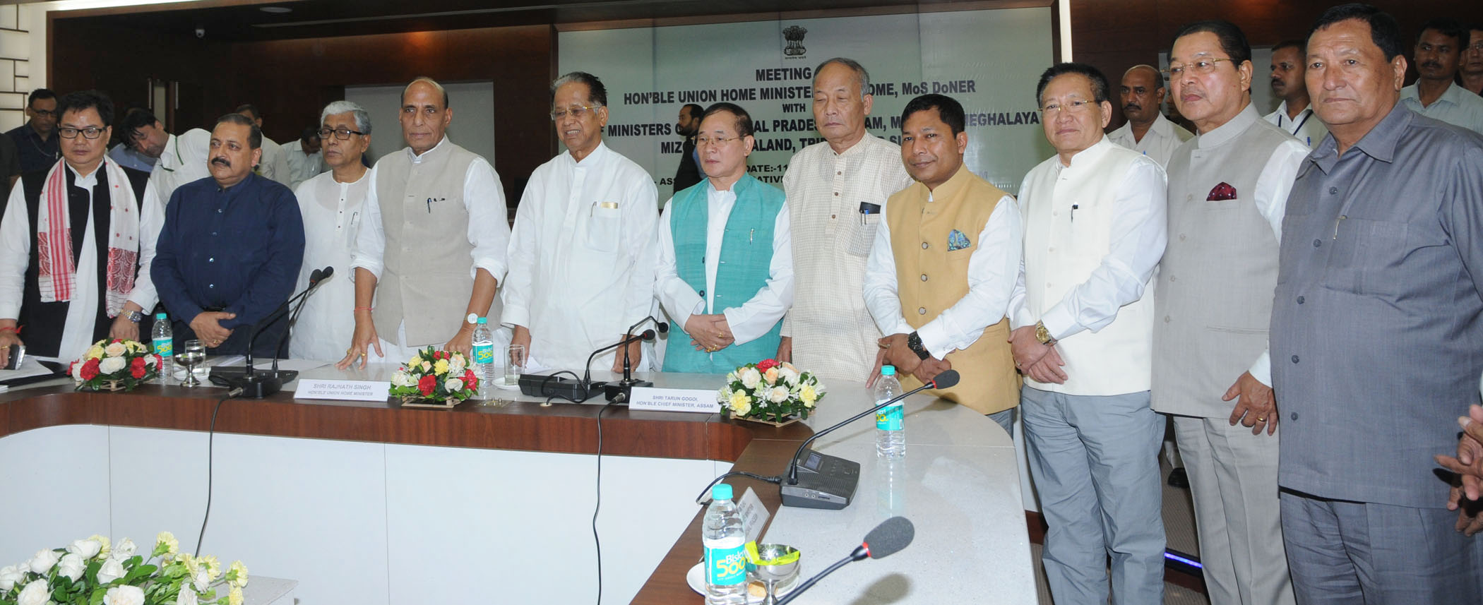 The Union Home Minister, Shri Rajnath Singh chaired the meeting of the Chief Ministers of Eight North Eastern States on Security & Development, in Guwahati on July 11, 2015. The Minister of State for Development of North Eastern Region (I/C), Prime Minister's Office, Personnel, Public Grievances & Pensions, Department of Atomic Energy, Department of Space, Dr. Jitendra Singh and the Minister of State for Home Affairs, Shri Kiren Rijiju are also seen.