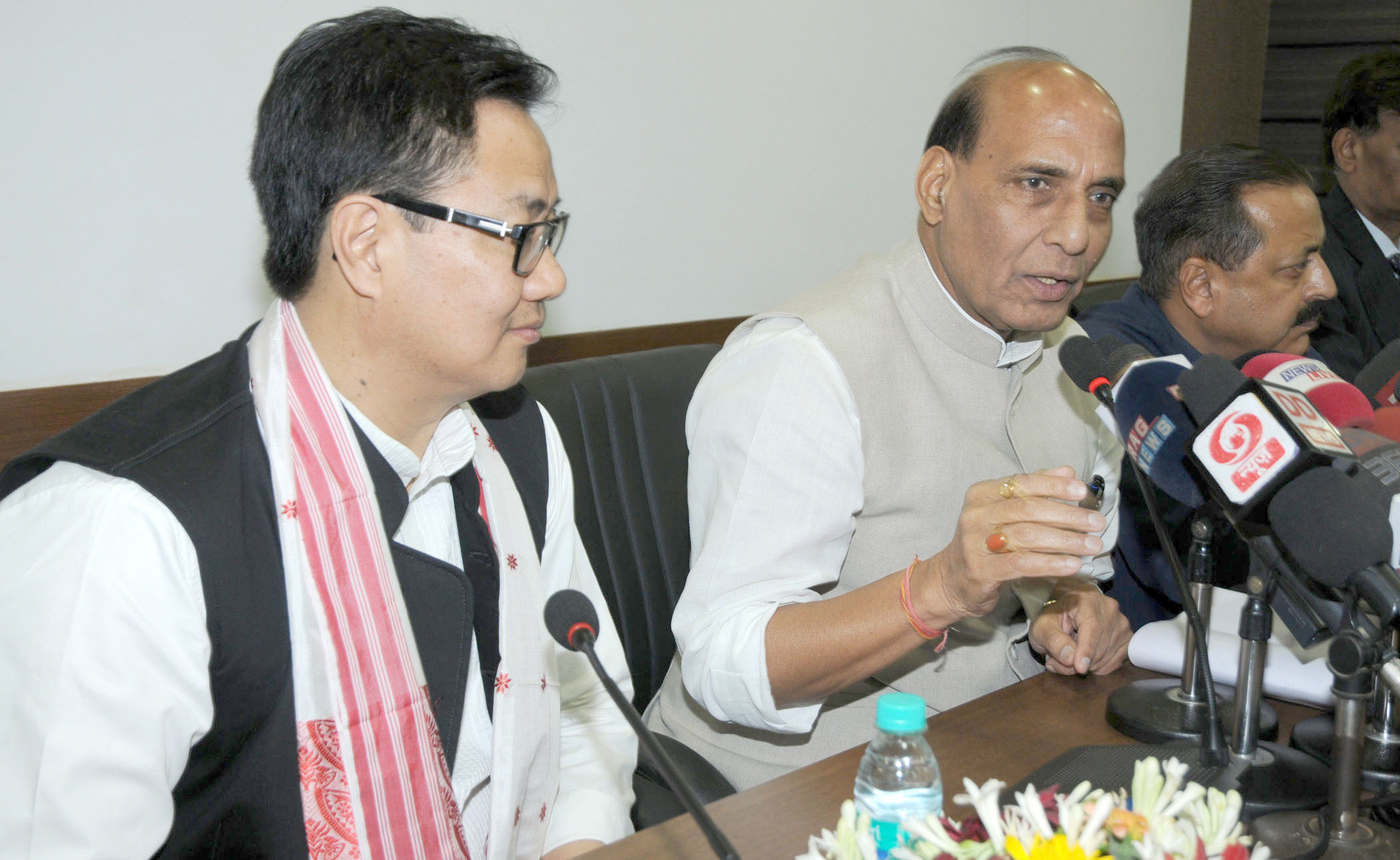The Union Home Minister, Shri Rajnath Singh addressing a press conference after charing the meeting of the Chief Ministers of Eight North Eastern States on Security & Development, in Guwahati on July 11, 2015. The Minister of State for Development of North Eastern Region (I/C), Prime Minister's Office, Personnel, Public Grievances & Pensions, Department of Atomic Energy, Department of Space, Dr. Jitendra Singh and the Minister of State for Home Affairs, Shri Kiren Rijiju are also seen.