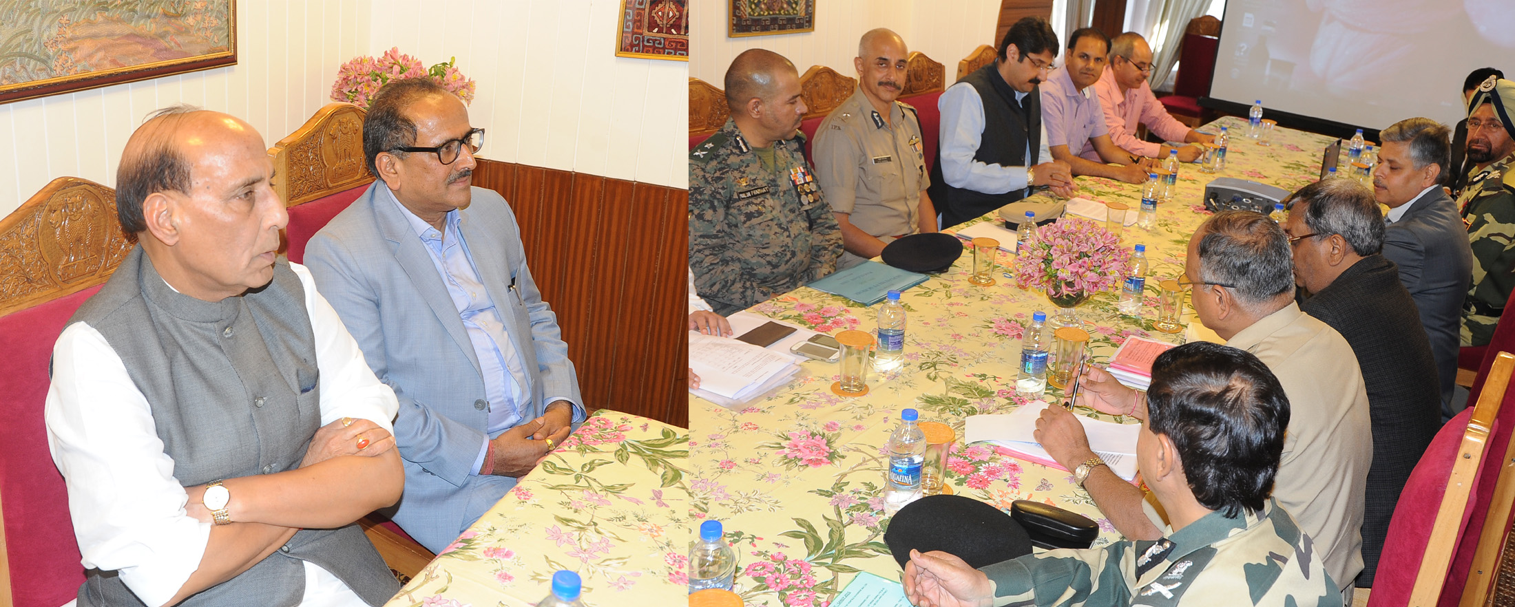 The Union Home Minister, Shri Rajnath Singh chairing a meeting to review the security situation in Jammu and Kashmir, at Srinagar on July 01, 2015. The Deputy Chief Minister of Jammu and Kashmir, Dr. Nirmal Kumar Singh is also seen.