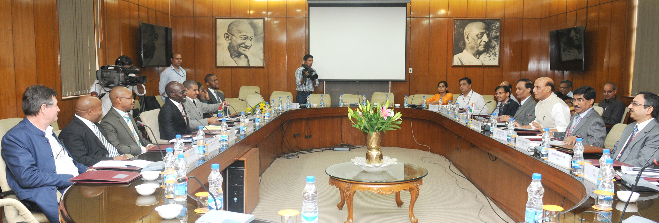The Minister of Home Affairs of the Republic of South Africa, Mr. Malusi Gigaba with Delegation meeting with the Union Home Minister, Shri Rajnath Singh, in New Delhi on July 08, 2015.