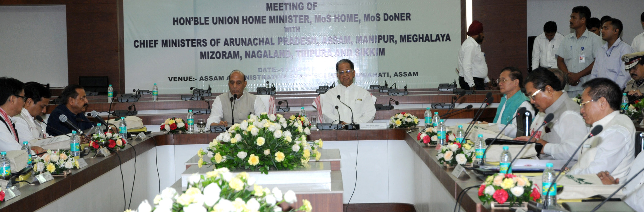 The Union Home Minister, Shri Rajnath Singh chairing the meeting of the Chief Ministers of Eight North Eastern States on Security & Development, in Guwahati on July 11, 2015. The Minister of State for Development of North Eastern Region (I/C), Prime Minister's Office, Personnel, Public Grievances & Pensions, Department of Atomic Energy, Department of Space, Dr. Jitendra Singh, the Minister of State for Home Affairs, Shri Kiren Rijiju and the Minister of State for Youth Affairs and Sports (Independent Charge), Shri Sarbananda Sonowal are also seen.