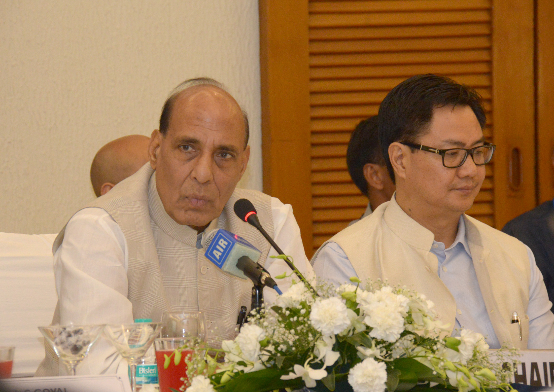 The Union Home Minister, Shri Rajnath Singh addressing the Consultative Committee Meeting of the Ministry of Home Affairs on coastal security, in Panaji, Goa on July 13, 2015.  The Minister of State for Home Affairs, Shri Kiren Rijiju is also seen.
