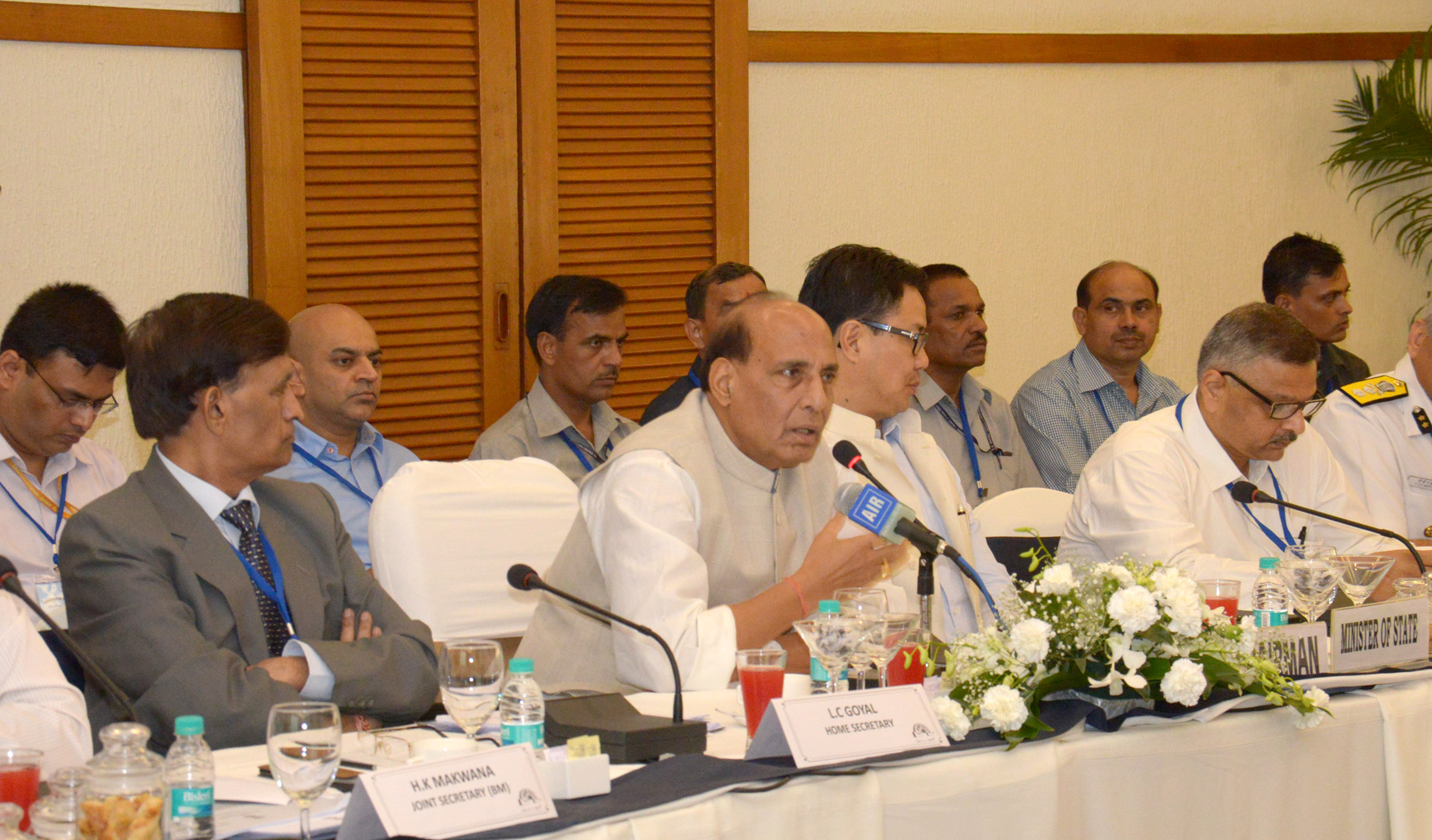The Union Home Minister, Shri Rajnath Singh addressing the Consultative Committee Meeting of the Ministry of Home Affairs on coastal security, in Panaji, Goa on July 13, 2015.  The Minister of State for Home Affairs, Shri Kiren Rijiju and the Union Home Secretary, Shri L.C. Goyal are also seen.