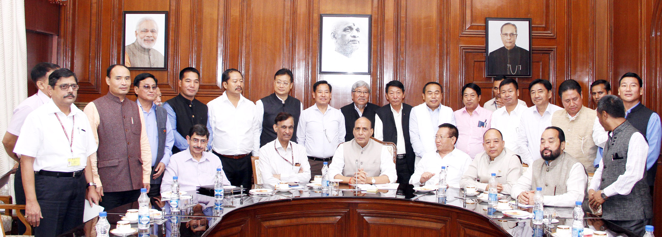 A delegation of Ministers and MLAs from Nagaland led by the Speaker of Nagaland Legislative Assembly, Shri Chotisuh Sazo and the Chief Minister, Nagaland, Shri T.R. Zeliang, calling on the Union Home Minister, Shri Rajnath Singh, in New Delhi on July 17, 2015.   The Union Home Secretary, Shri L.C. Goyal, the Interlocutor for Naga peace talks and Chairman, Joint Intelligence Committee, Shri R.N. Ravi and the Joint Secretary (NE), MHA, Shri Shambhu Singh are also seen.
