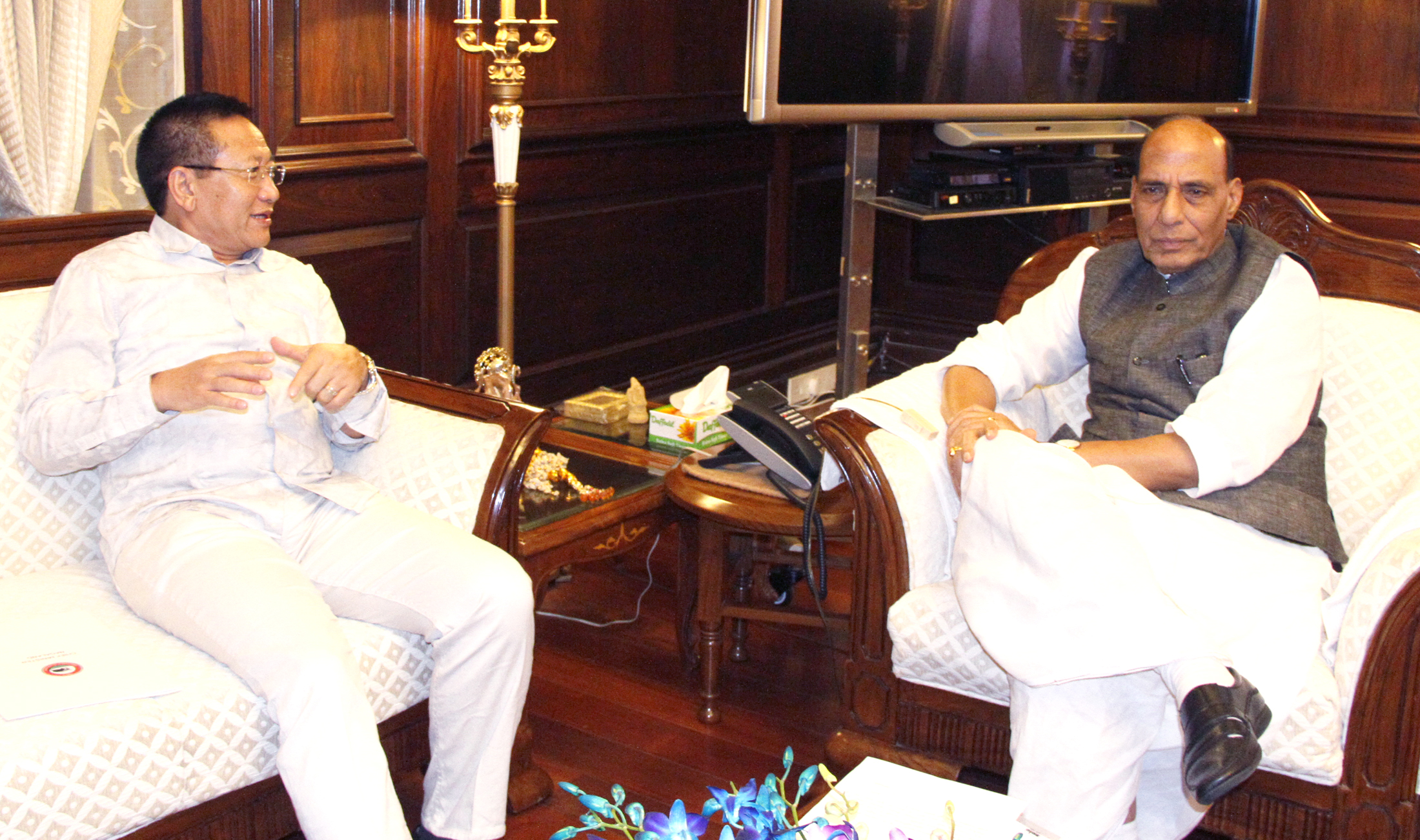 The Chief Minister of Nagaland, Shri T.R. Zeliang calling on the Union Home Minister, Shri Rajnath Singh, in New Delhi on July 29, 2015.