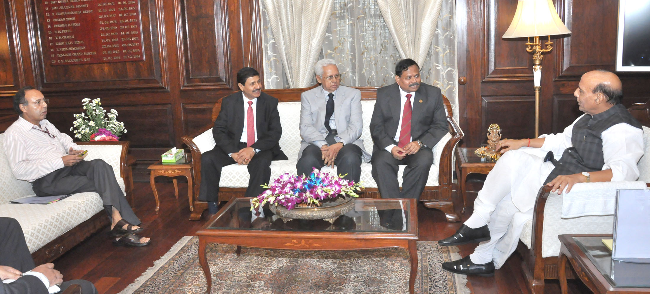 The Director General, Border Guard Bangladesh (BGB), Major General Aziz Ahmed calling on the Union Home Minister, Shri Rajnath Singh, in New Delhi on August 06, 2015.  The Bangladesh High Commissioner to India, Mr. Syed Muazzem Ali, the Director General, Border Security Force, Shri D.K. Pathak and the Secretary (Border Management), MHA, Shri Anoop Kumar Srivastava are also seen.