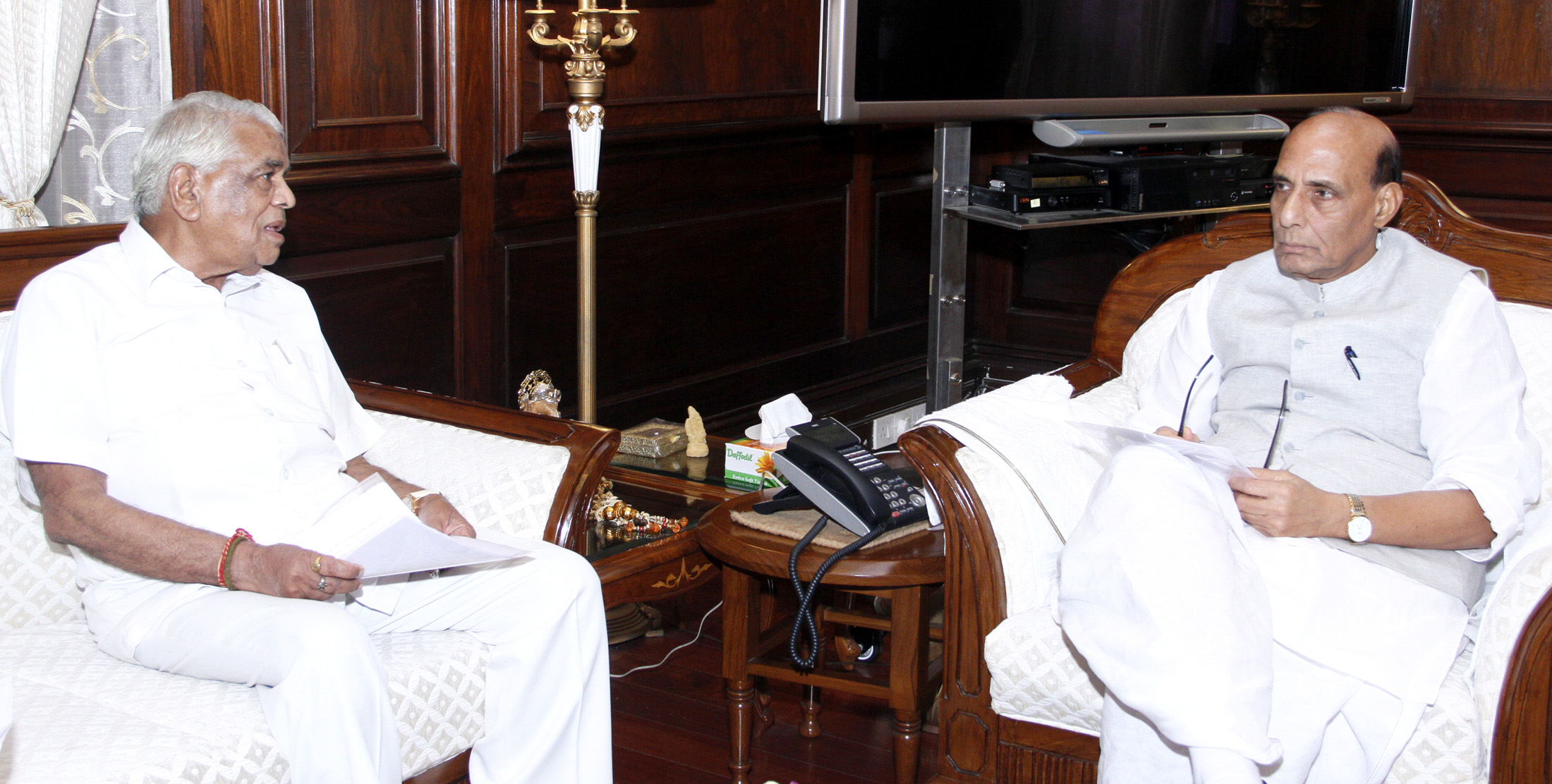 The Minister for Home and Jail of Madhya Pradesh, Shri Babulal Gaur calling on the Union Home Minister, Shri Rajnath Singh, in New Delhi on August 13, 2015.