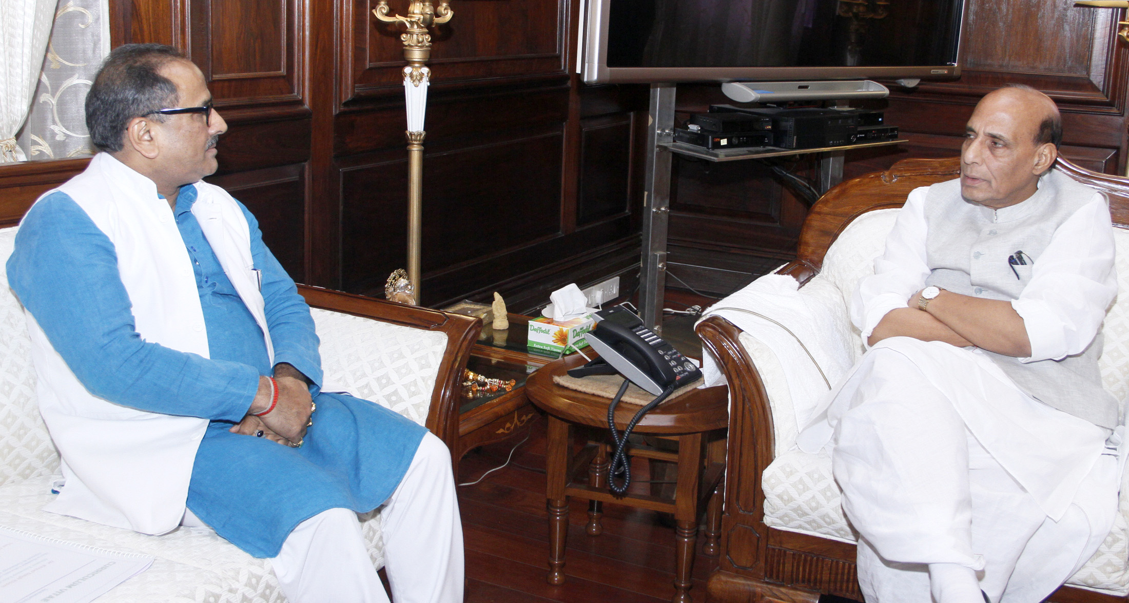 The Deputy Chief Minister of Jammu and Kashmir, Dr. Nirmal Kumar Singh calling on the Union Home Minister, Shri Rajnath Singh, in New Delhi on August 13, 2015.