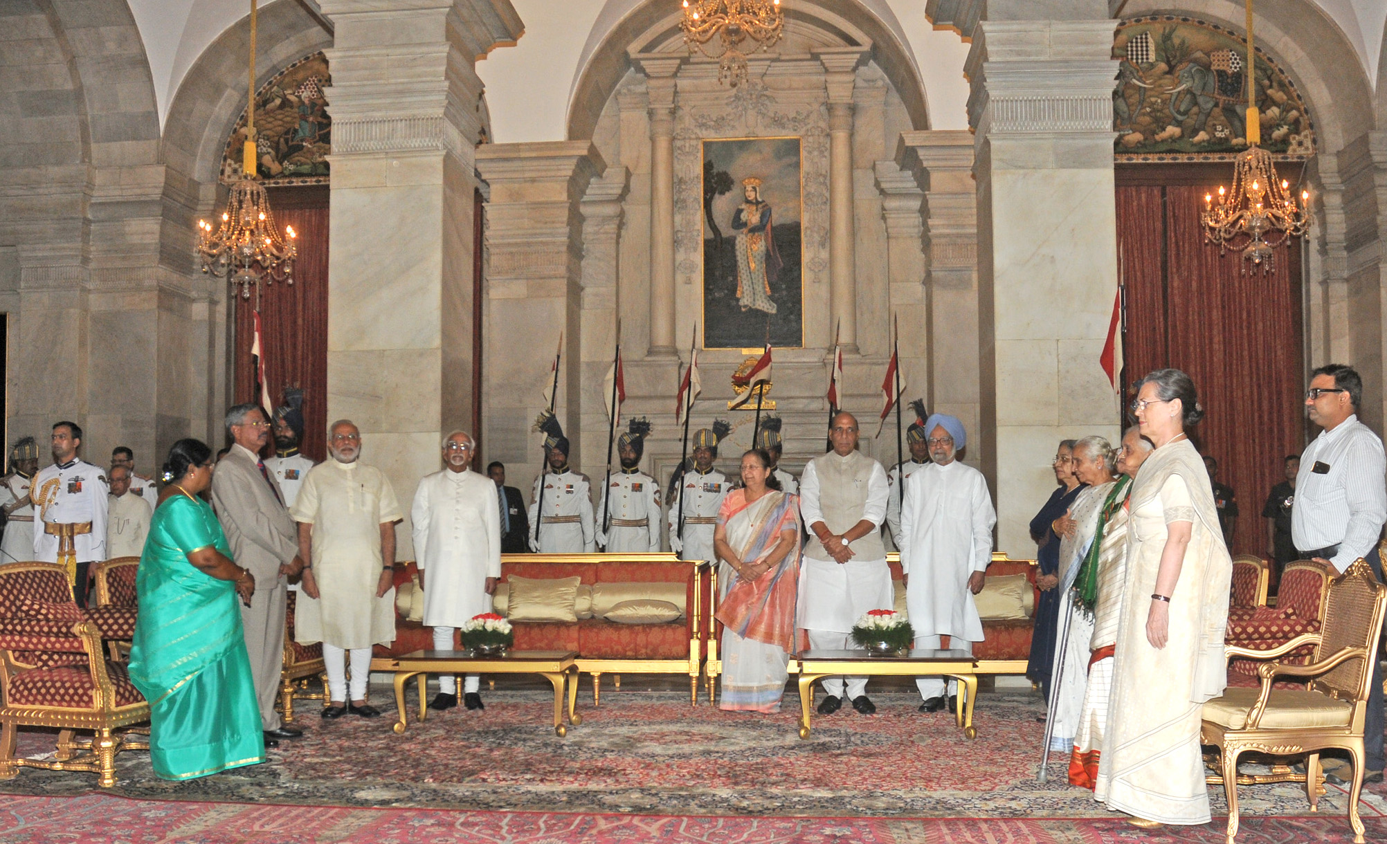 The Prime Minister, Shri Narendra Modi at the 'At Home' function, organised on the occasion of 69th Independence Day, at Rashtrapati Bhavan, in Delhi on August 15, 2015. The Vice President, Shri Mohd. Hamid Ansari, the Union Home Minister, Shri Rajnath Singh, the Speaker, Lok Sabha, Smt. Sumitra Mahajan and other dignitaries are also seen.