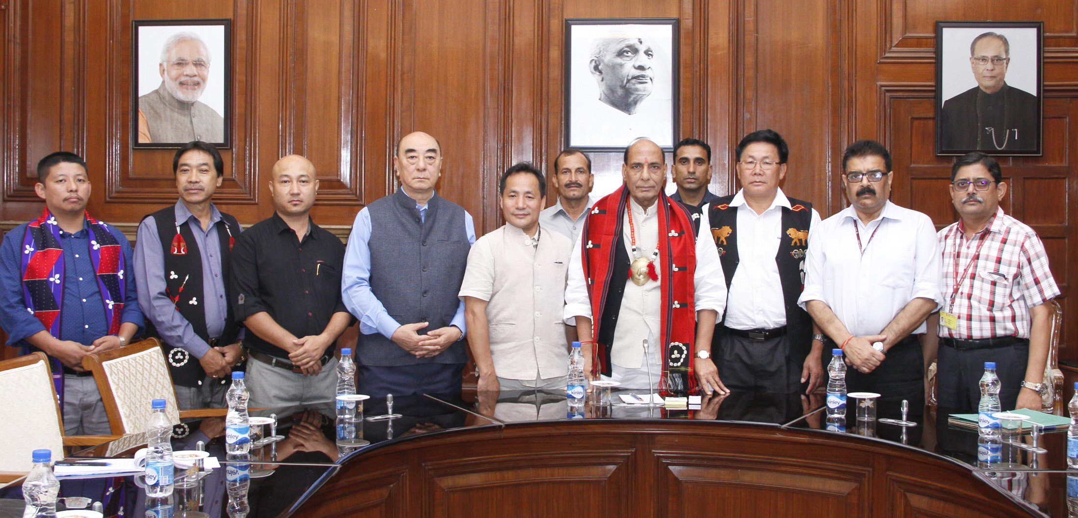A group of Eastern Nagaland People's Organisation (ENPO) leaders calling on the Union Home Minister, Shri Rajnath Singh, in New Delhi on August 24, 2015.  The Secretary (Internal Security), Shri Ashok Prasad and the Senior MHA officials are also seen.