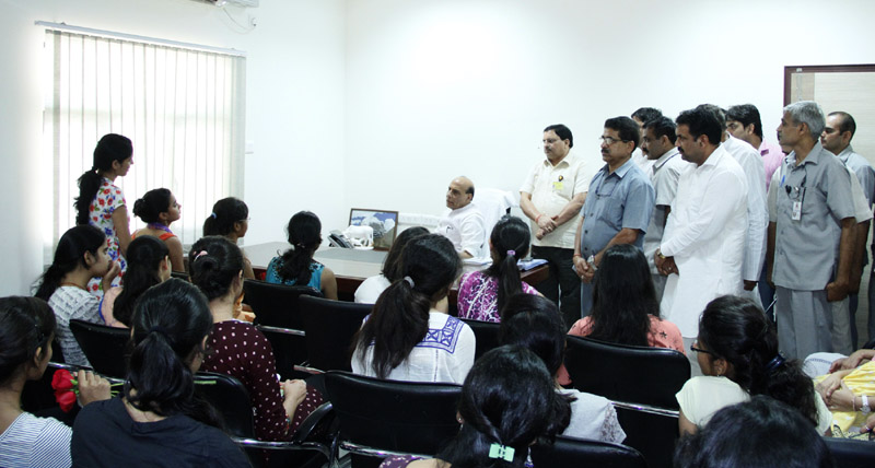 A group of girl students from Delhi University calling on the Union Home Minister, Shri Rajnath Singh, in New Delhi on August 26, 2015.
