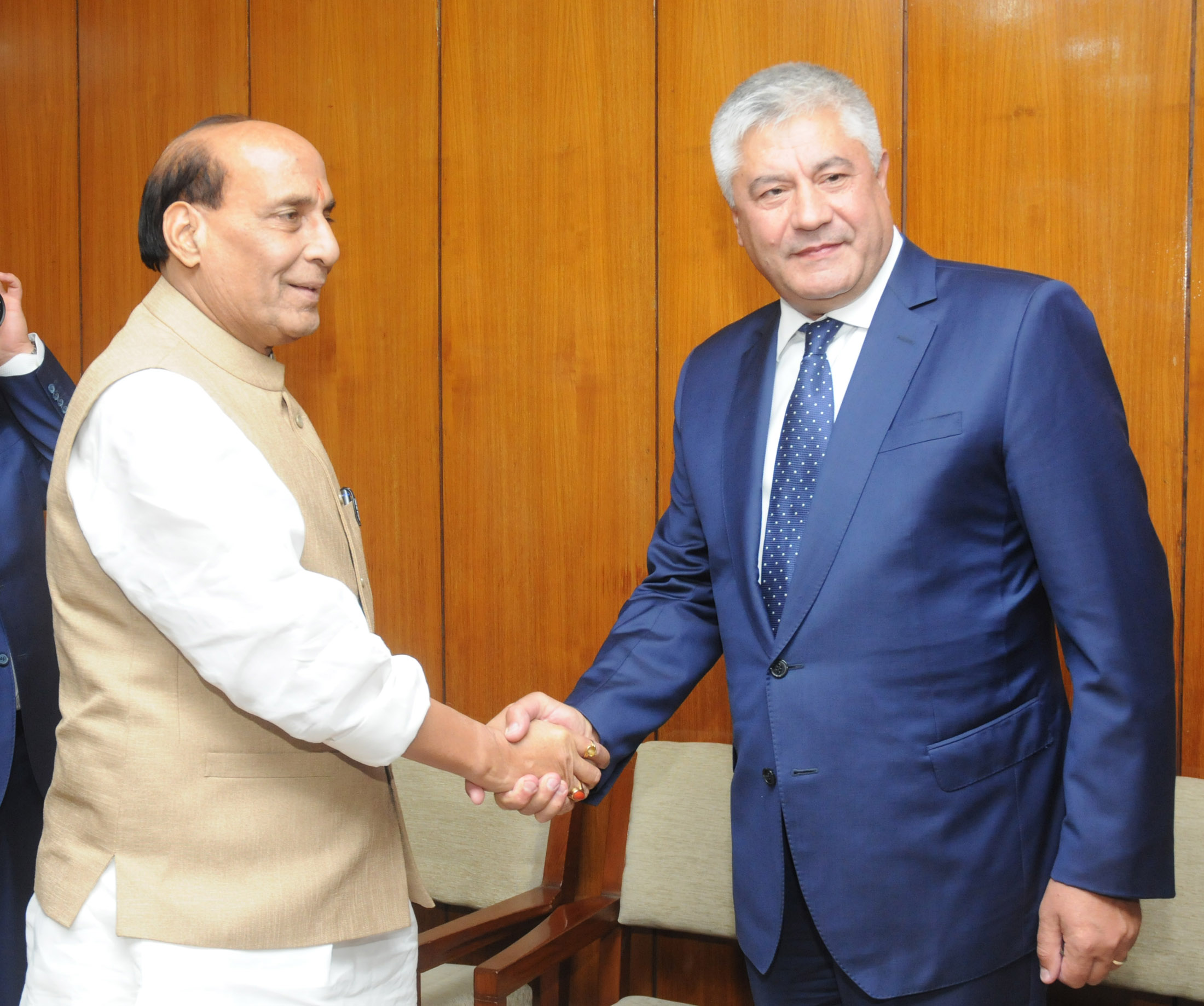 The Union Home Minister, Shri Rajnath Singh shaking hands with the Minister of the Interior of Russia, Mr. Vladimir Kolokoltsev, during the Home Minister's meeting, in New Delhi on September 07, 2015.