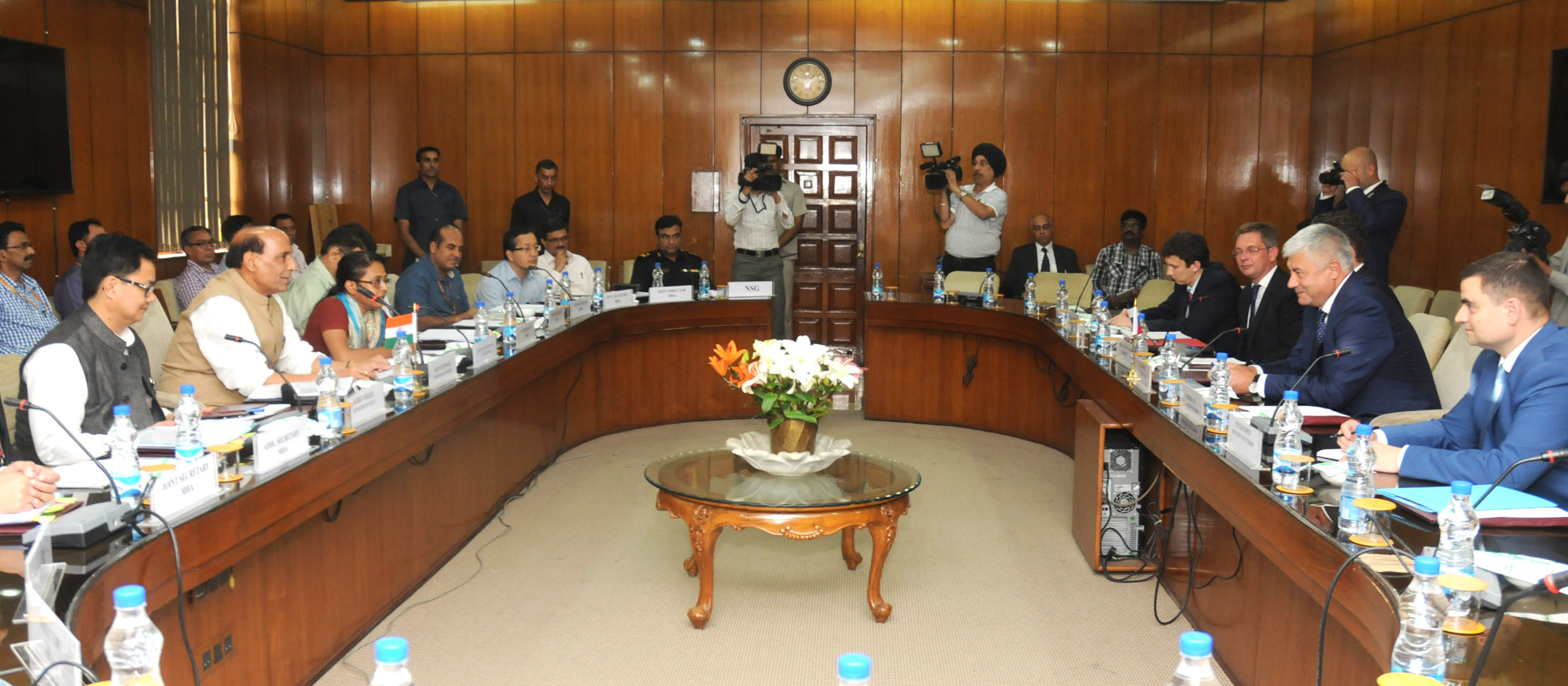 The Union Home Minister, Shri Rajnath Singh with the Minister of the Interior of Russia, Mr. Vladimir Kolokoltsev, at the Home Minister's meeting, in New Delhi on September 07, 2015. The Minister of State for Home Affairs, Shri Kiren Rijiju is also seen.