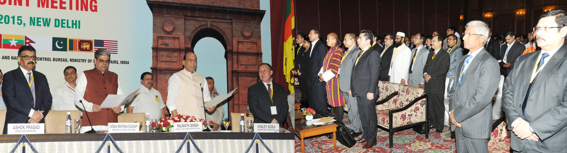 The Union Home Minister, Shri Rajnath Singh at the inauguration of a three-day workshop on Sub-Regional Drug 'Focal Point Meeting and DDR Expert Group Consultation, South Asia under Colombo Plan Drug Advisory Programme', in New Delhi on September 09, 2015.   The Minister of State for Home Affairs, Shri Haribhai Parthibhai Chaudhary and other dignitaries are also seen.
