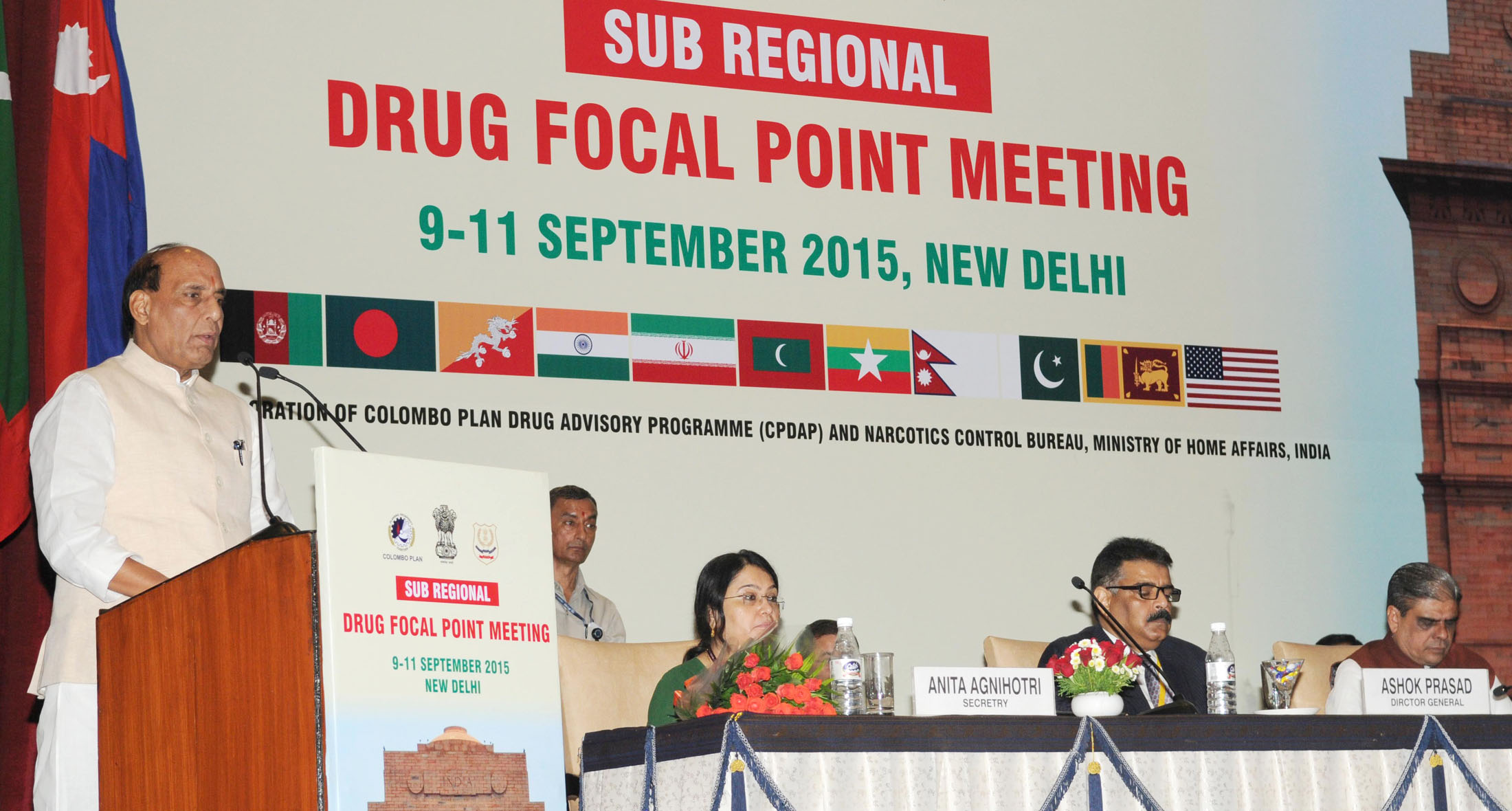 The Union Home Minister, Shri Rajnath Singh addressing at the inauguration of a three-day workshop on Sub-Regional Drug 'Focal Point Meeting and DDR Expert Group Consultation, South Asia under Colombo Plan Drug Advisory Programme', in New Delhi on September 09, 2015.   The Minister of State for Home Affairs, Shri Haribhai Parthibhai Chaudhary and other dignitaries are also seen.