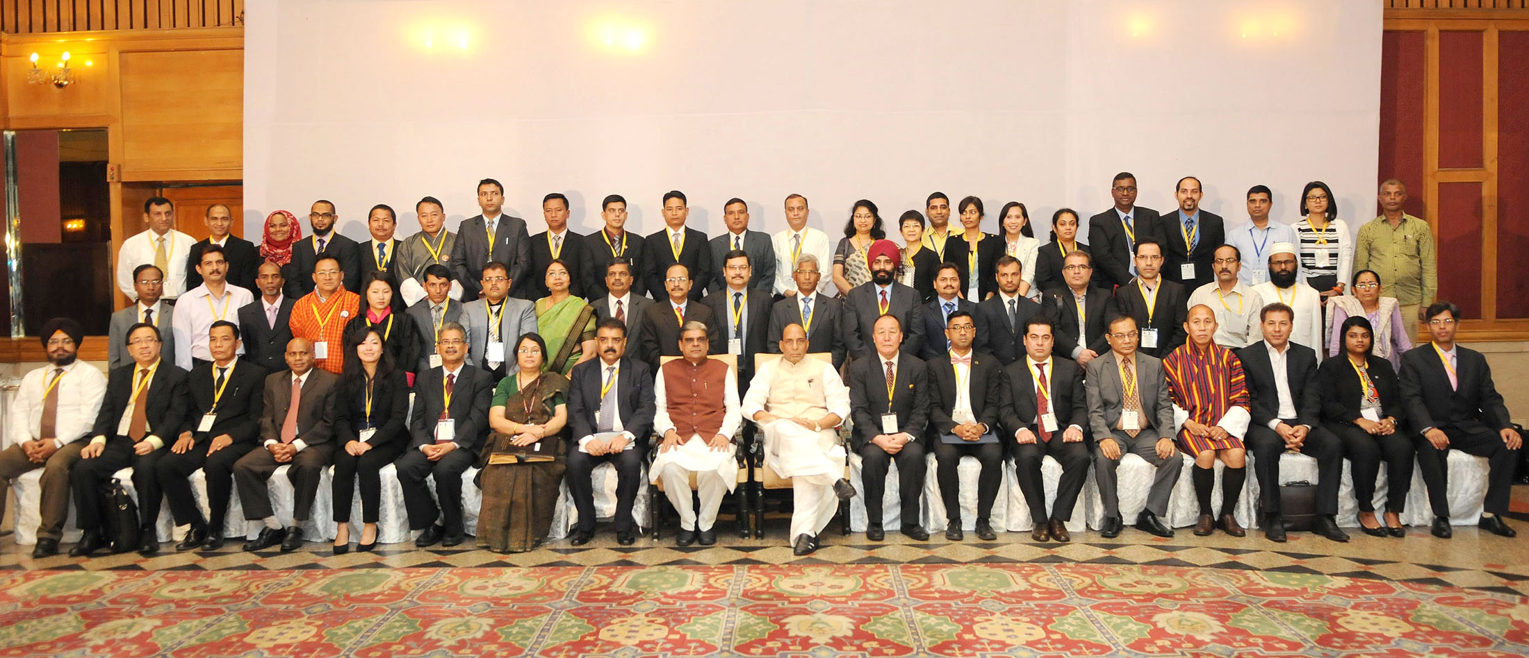 The Union Home Minister, Shri Rajnath Singh in group photograph, at a three-day workshop on Sub-Regional Drug 'Focal Point Meeting and DDR Expert Group Consultation, South Asia under Colombo Plan Drug Advisory Programme', in New Delhi on September 09, 2015.   The Minister of State for Home Affairs, Shri Haribhai Parthibhai Chaudhary and other dignitaries are also seen.